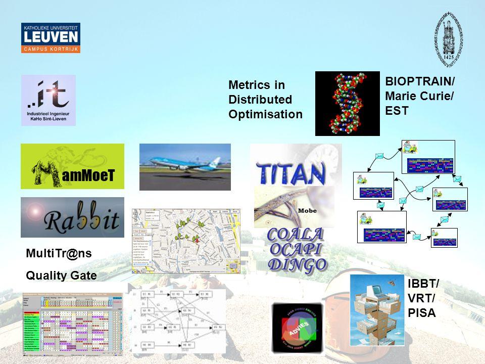 DINGODINGO OCAPIOCAPICOALACOALA MultiTr@ns Quality Gate IBBT/ VRT/ PISA BIOPTRAIN/ Marie Curie/ EST Metrics in Distributed Optimisation