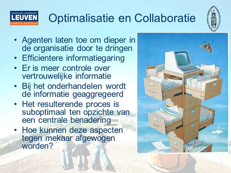 Optimalisatie en Collaboratie Agenten laten toe om dieper in de organisatie door te dringen Efficientere informatiegaring Er is meer controle over ver