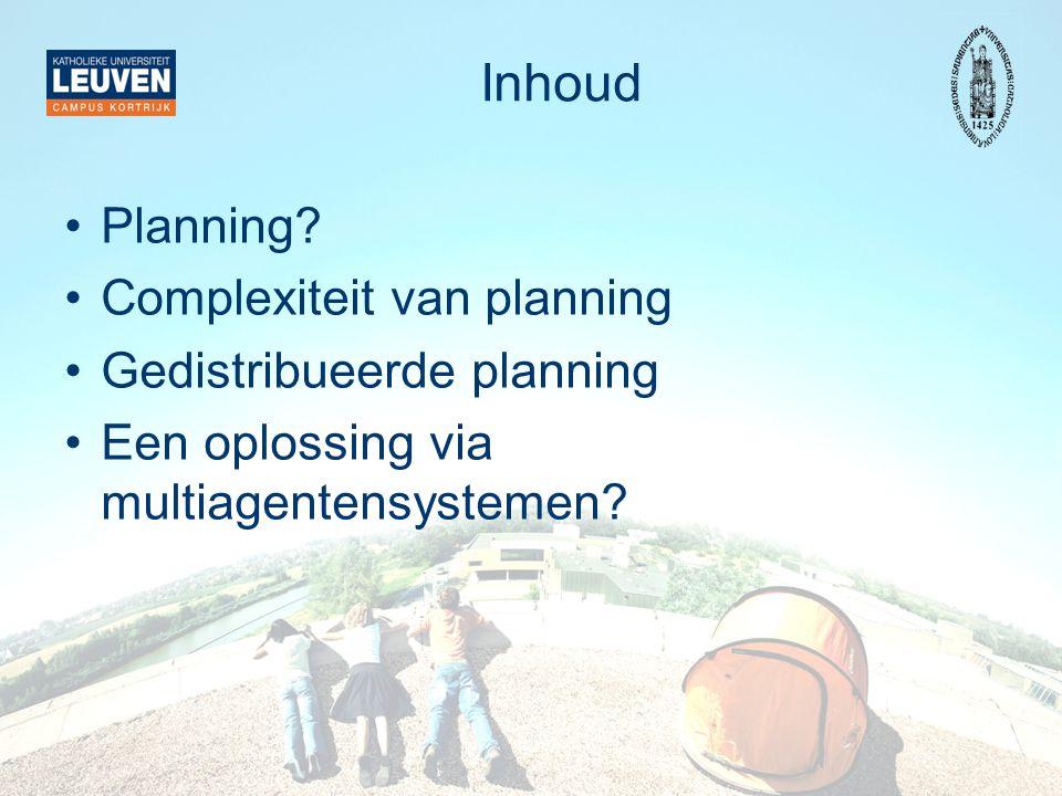 Inhoud Planning? Complexiteit van planning Gedistribueerde planning Een oplossing via multiagentensystemen?