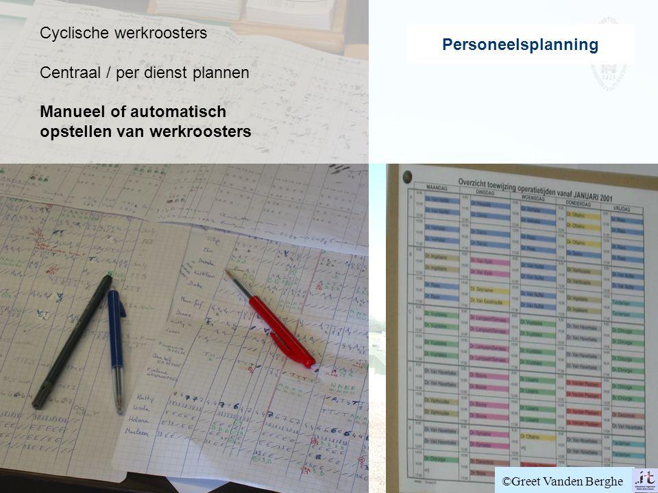 Cyclische werkroosters Centraal / per dienst plannen Manueel of automatisch opstellen van werkroosters Personeelsplanning ©Greet Vanden Berghe