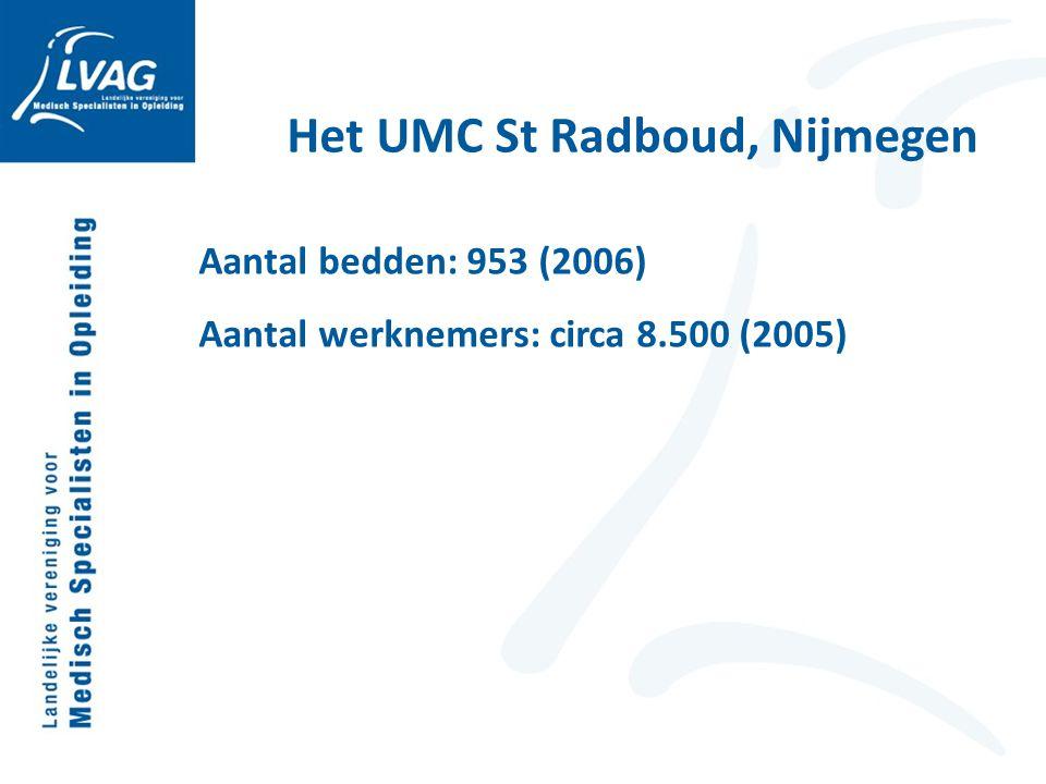 Het UMC St Radboud, Nijmegen Aantal bedden: 953 (2006) Aantal werknemers: circa 8.500 (2005)
