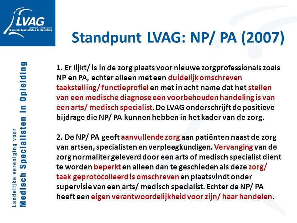 Standpunt LVAG: NP/ PA (2007) 1. Er lijkt/ is in de zorg plaats voor nieuwe zorgprofessionals zoals NP en PA, echter alleen met een duidelijk omschrev