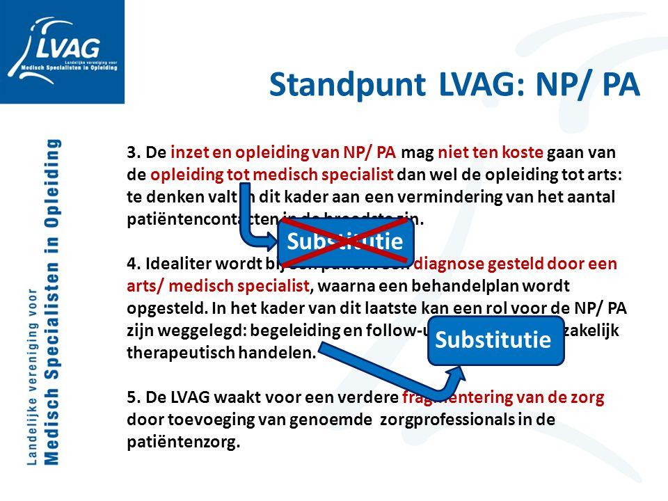 Standpunt LVAG: NP/ PA 3. De inzet en opleiding van NP/ PA mag niet ten koste gaan van de opleiding tot medisch specialist dan wel de opleiding tot ar