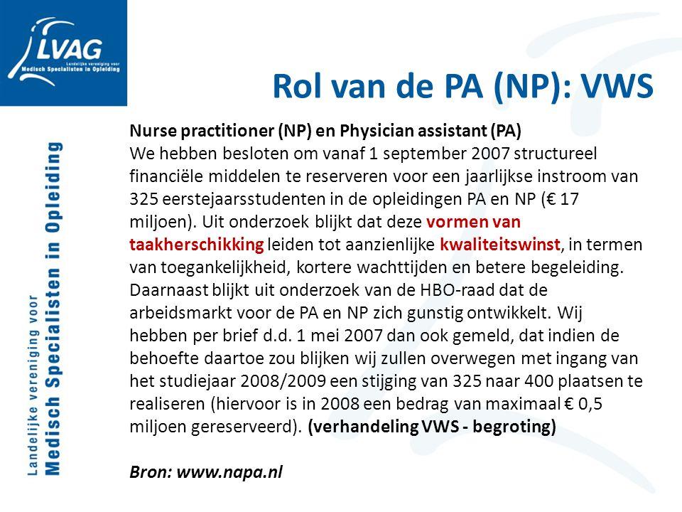 Nurse practitioner (NP) en Physician assistant (PA) We hebben besloten om vanaf 1 september 2007 structureel financiële middelen te reserveren voor ee