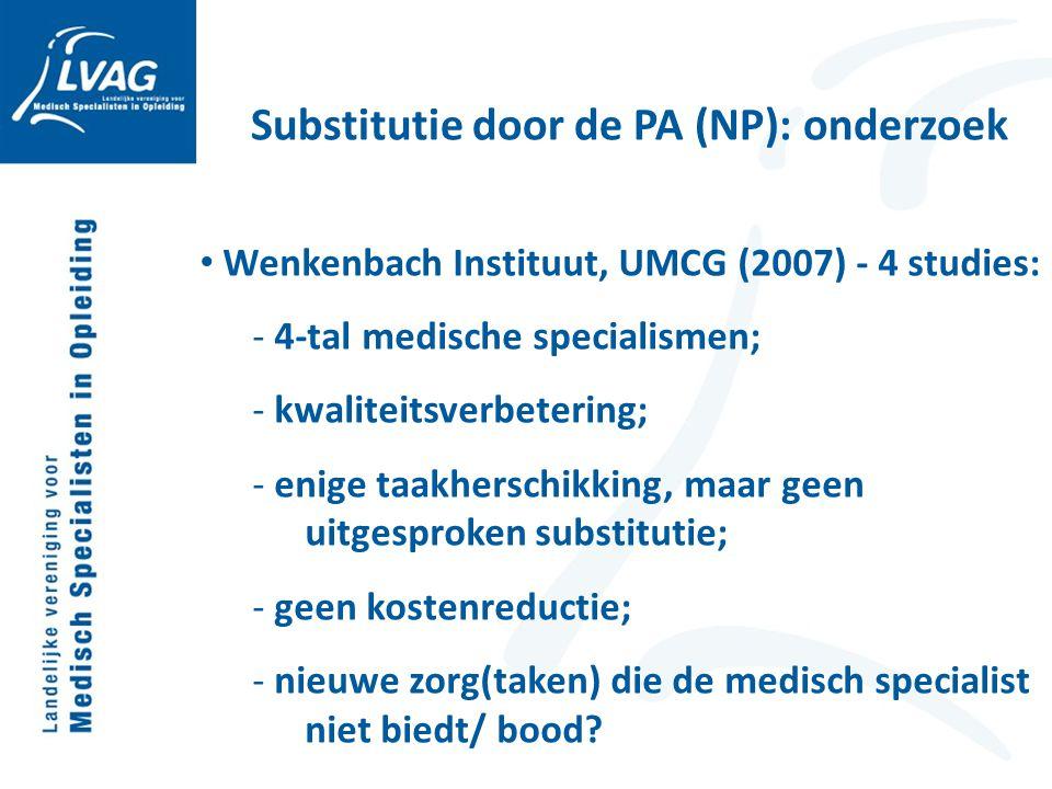 Wenkenbach Instituut, UMCG (2007) - 4 studies: - 4-tal medische specialismen; - kwaliteitsverbetering; - enige taakherschikking, maar geen uitgesproke