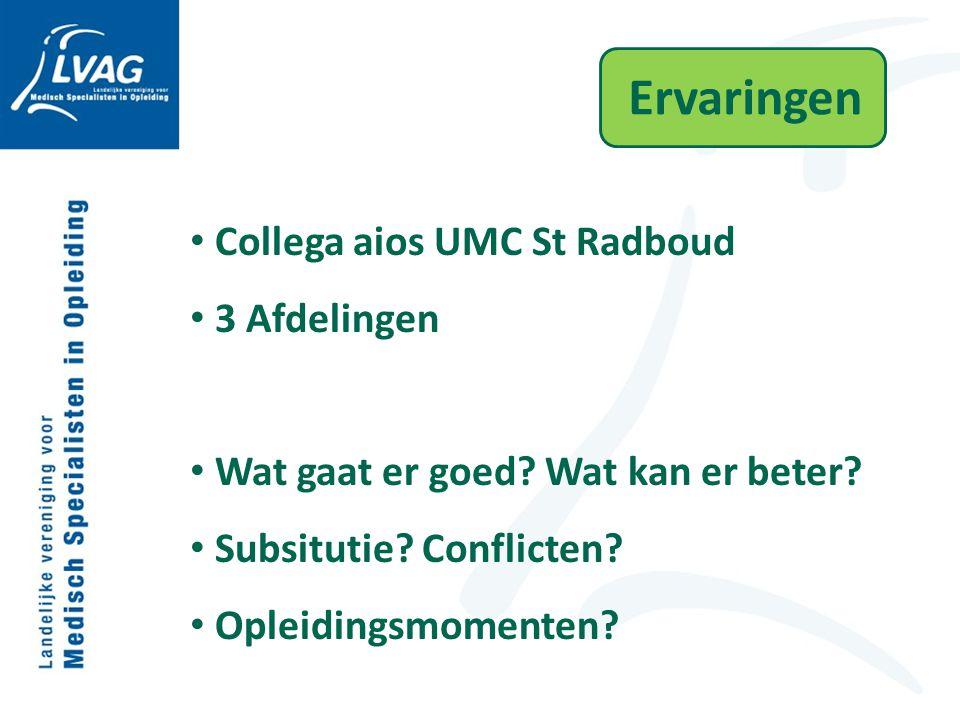 Ervaringen Collega aios UMC St Radboud 3 Afdelingen Wat gaat er goed? Wat kan er beter? Subsitutie? Conflicten? Opleidingsmomenten?