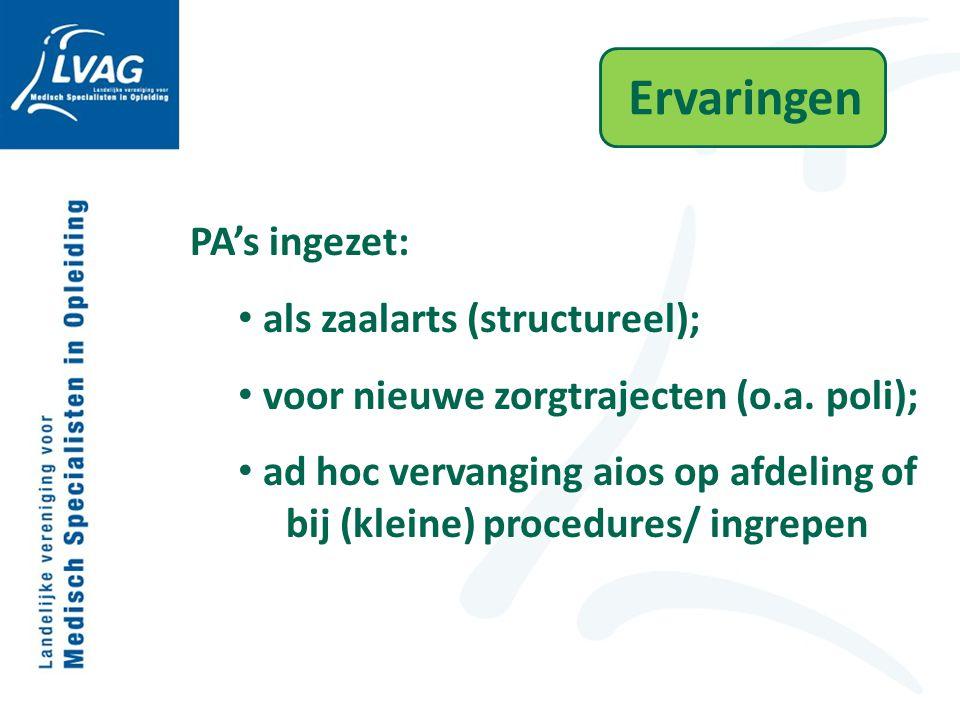 Ervaringen PA's ingezet: als zaalarts (structureel); voor nieuwe zorgtrajecten (o.a. poli); ad hoc vervanging aios op afdeling of bij (kleine) procedu