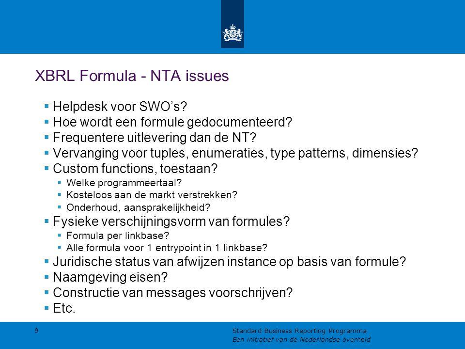 XBRL Formula - NTA issues  Helpdesk voor SWO's?  Hoe wordt een formule gedocumenteerd?  Frequentere uitlevering dan de NT?  Vervanging voor tuples