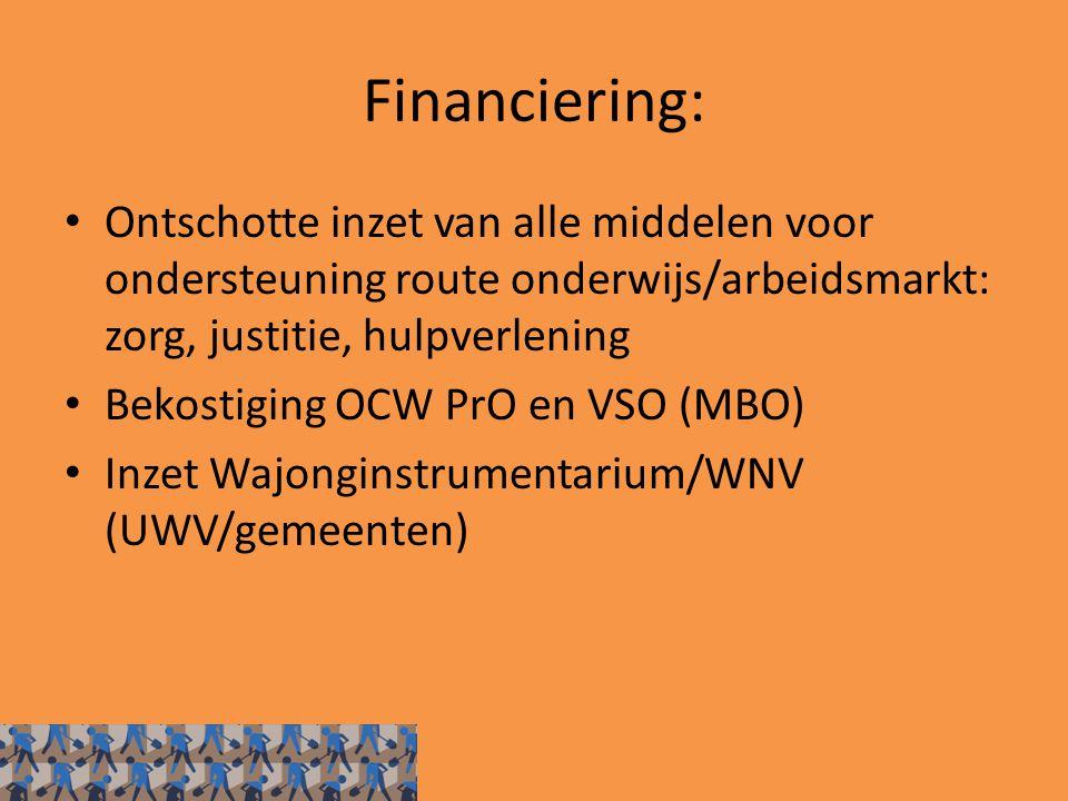 Financiering: Ontschotte inzet van alle middelen voor ondersteuning route onderwijs/arbeidsmarkt: zorg, justitie, hulpverlening Bekostiging OCW PrO en VSO (MBO) Inzet Wajonginstrumentarium/WNV (UWV/gemeenten)