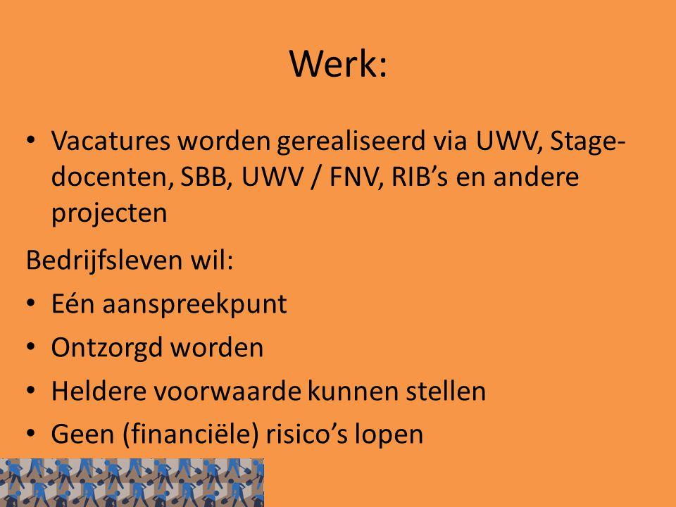 Werk: Vacatures worden gerealiseerd via UWV, Stage- docenten, SBB, UWV / FNV, RIB's en andere projecten Bedrijfsleven wil: Eén aanspreekpunt Ontzorgd worden Heldere voorwaarde kunnen stellen Geen (financiële) risico's lopen