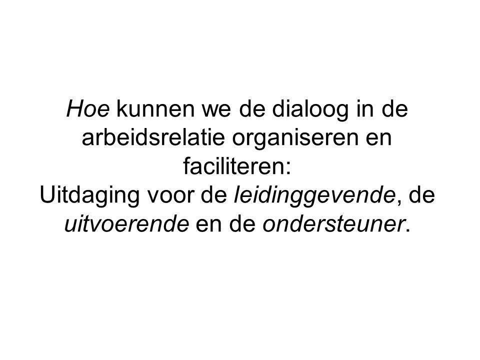 Hoe kunnen we de dialoog in de arbeidsrelatie organiseren en faciliteren: Uitdaging voor de leidinggevende, de uitvoerende en de ondersteuner.