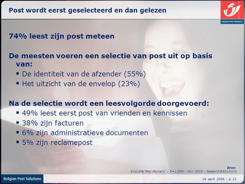 19 april 2006 | p 12 Post wordt eerst geselecteerd en dan gelezen 74% leest zijn post meteen De meesten voeren een selectie van post uit op basis van: