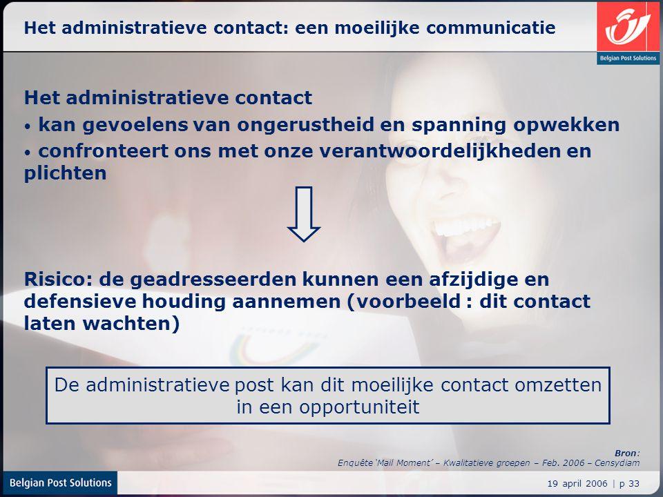 19 april 2006 | p 33 Het administratieve contact: een moeilijke communicatie Het administratieve contact kan gevoelens van ongerustheid en spanning op