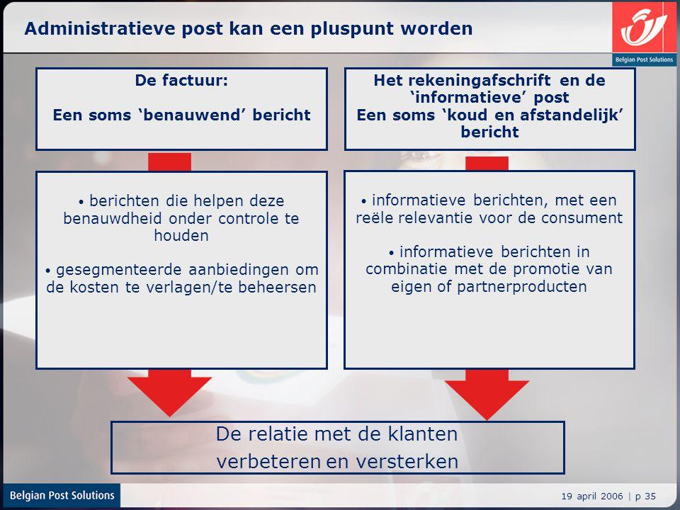 19 april 2006 | p 35 Administratieve post kan een pluspunt worden De relatie met de klanten verbeteren en versterken De factuur: Een soms 'benauwend'