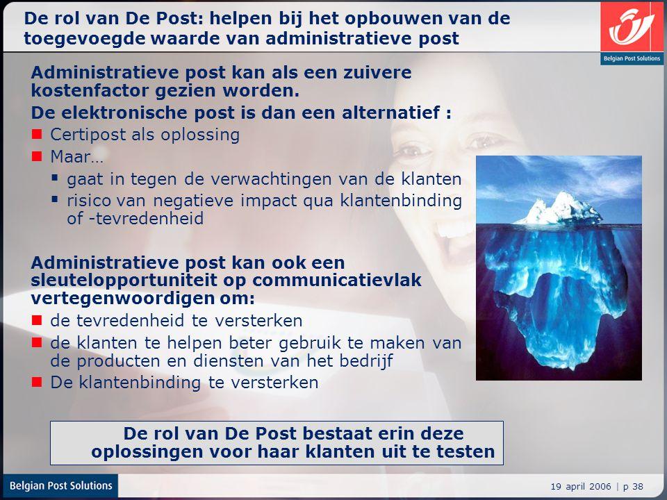 19 april 2006 | p 38 De rol van De Post bestaat erin deze oplossingen voor haar klanten uit te testen De rol van De Post: helpen bij het opbouwen van