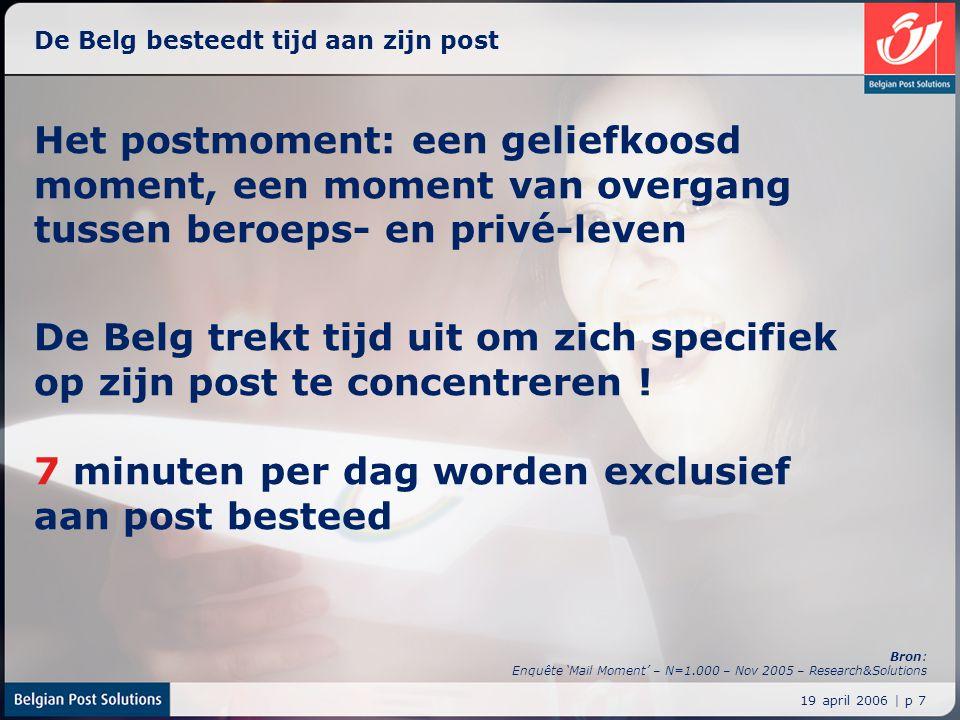19 april 2006 | p 7 De Belg besteedt tijd aan zijn post Het postmoment: een geliefkoosd moment, een moment van overgang tussen beroeps- en privé-leven