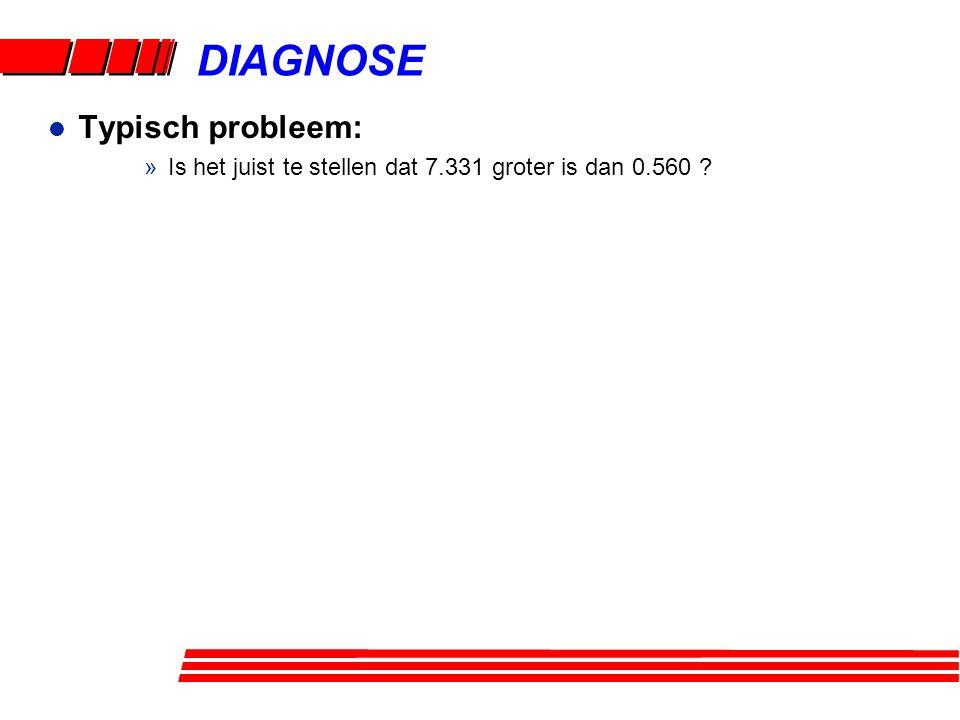 l Typisch probleem: »Is het juist te stellen dat 7.331 groter is dan 0.560 ? DIAGNOSE