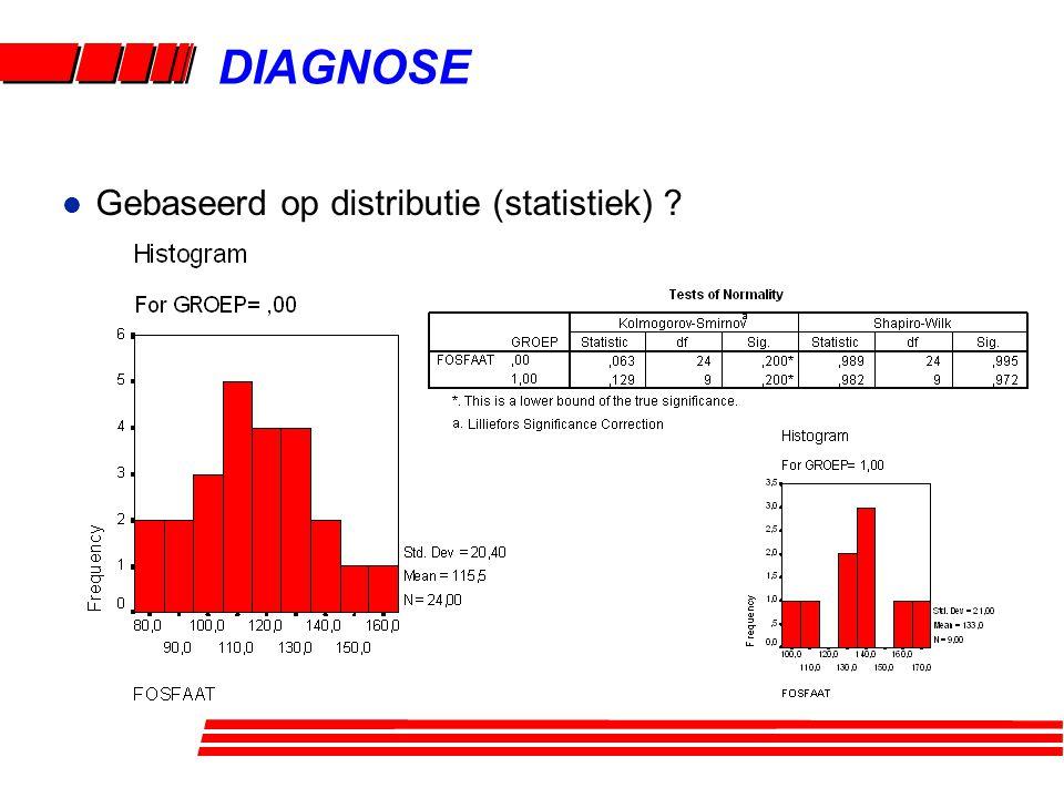 DIAGNOSE l Gebaseerd op distributie (statistiek) ?