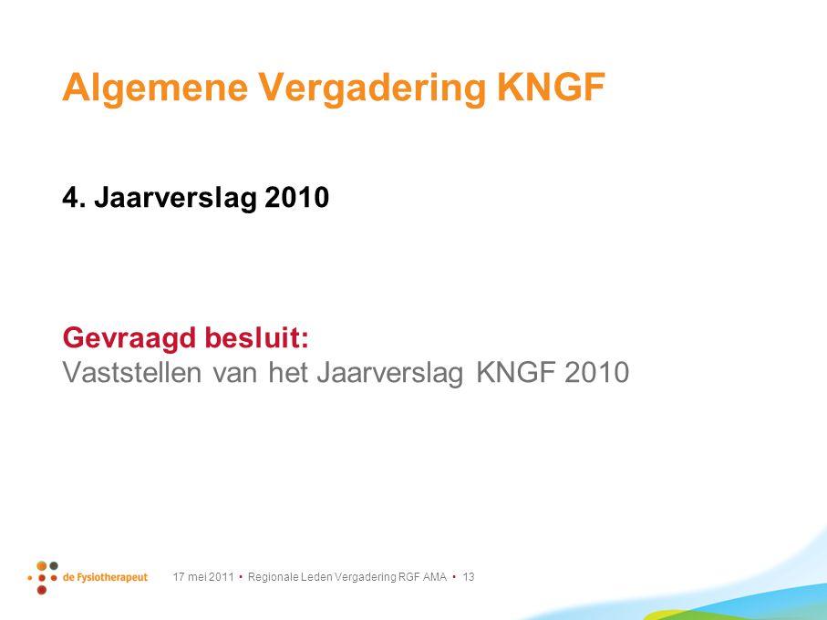 17 mei 2011 Regionale Leden Vergadering RGF AMA 13 Algemene Vergadering KNGF 4. Jaarverslag 2010 Gevraagd besluit: Vaststellen van het Jaarverslag KNG