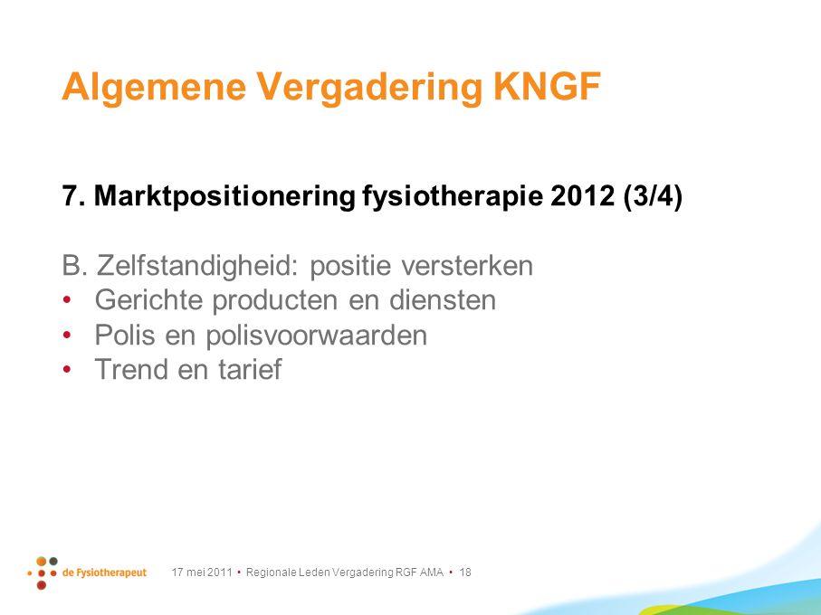 17 mei 2011 Regionale Leden Vergadering RGF AMA 18 Algemene Vergadering KNGF 7. Marktpositionering fysiotherapie 2012 (3/4) B. Zelfstandigheid: positi