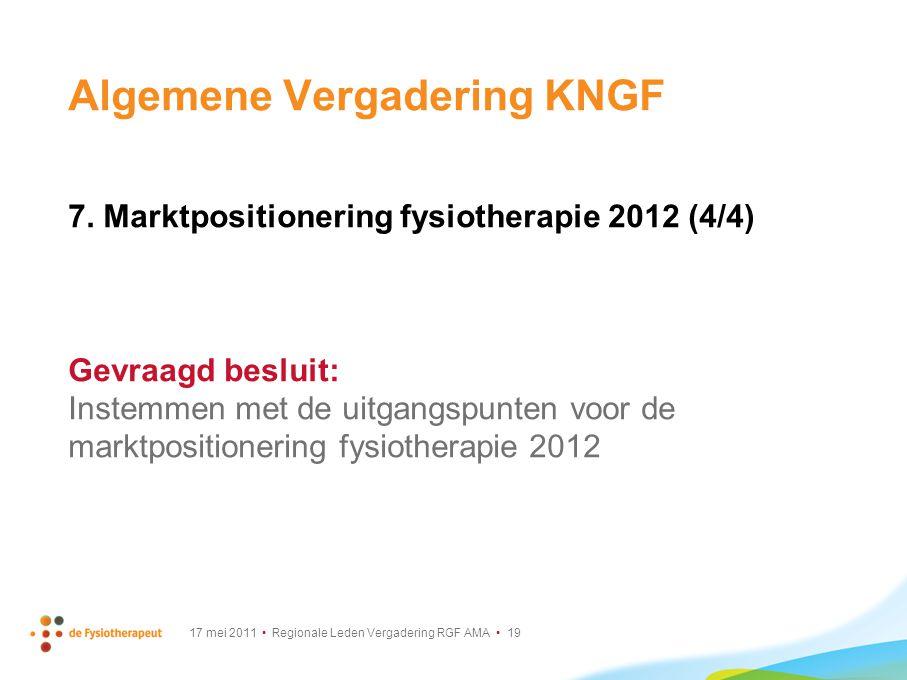 17 mei 2011 Regionale Leden Vergadering RGF AMA 19 Algemene Vergadering KNGF 7. Marktpositionering fysiotherapie 2012 (4/4) Gevraagd besluit: Instemme