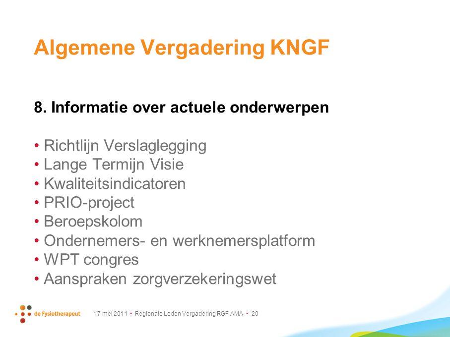 17 mei 2011 Regionale Leden Vergadering RGF AMA 20 Algemene Vergadering KNGF 8. Informatie over actuele onderwerpen Richtlijn Verslaglegging Lange Ter