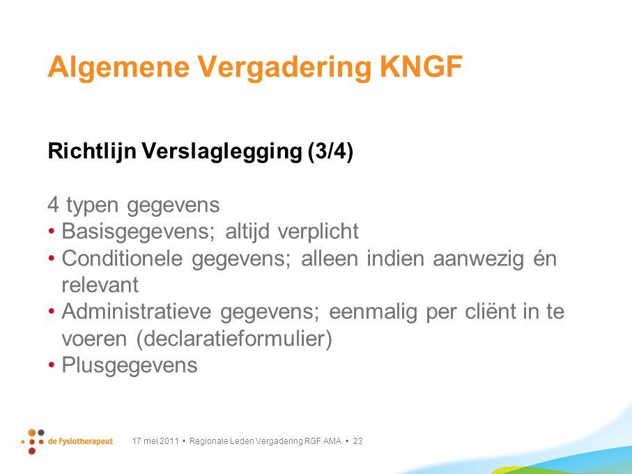 17 mei 2011 Regionale Leden Vergadering RGF AMA 23 Algemene Vergadering KNGF Richtlijn Verslaglegging (3/4) 4 typen gegevens Basisgegevens; altijd ver