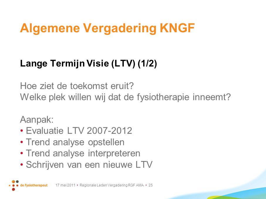 17 mei 2011 Regionale Leden Vergadering RGF AMA 25 Algemene Vergadering KNGF Lange Termijn Visie (LTV) (1/2) Hoe ziet de toekomst eruit? Welke plek wi