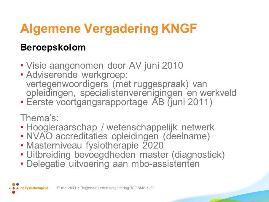 17 mei 2011 Regionale Leden Vergadering RGF AMA 30 Algemene Vergadering KNGF Beroepskolom Visie aangenomen door AV juni 2010 Adviserende werkgroep: ve