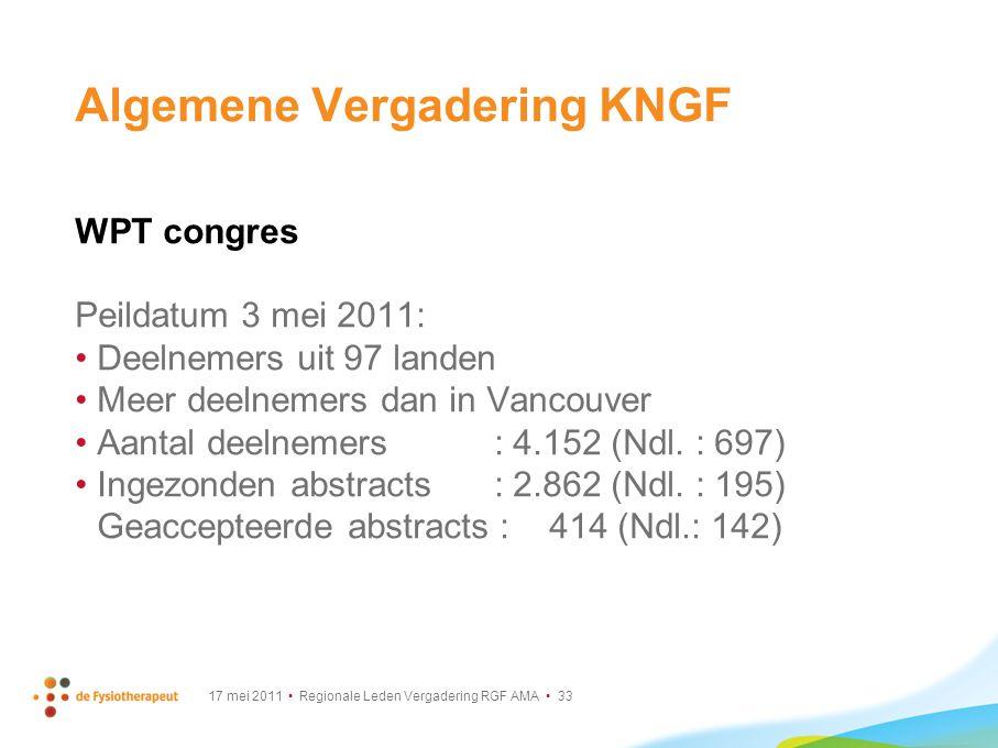 17 mei 2011 Regionale Leden Vergadering RGF AMA 33 Algemene Vergadering KNGF WPT congres Peildatum 3 mei 2011: Deelnemers uit 97 landen Meer deelnemer