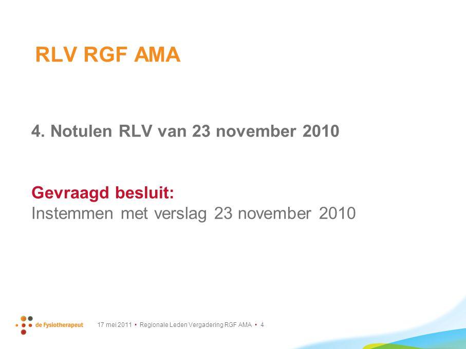 17 mei 2011 Regionale Leden Vergadering RGF AMA 25 Algemene Vergadering KNGF Lange Termijn Visie (LTV) (1/2) Hoe ziet de toekomst eruit.