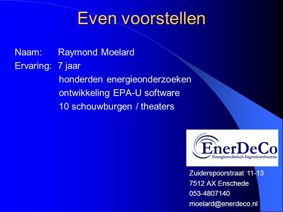 Even voorstellen Naam: Raymond Moelard Ervaring: 7 jaar honderden energieonderzoeken ontwikkeling EPA-U software 10 schouwburgen / theaters Zuiderspoo