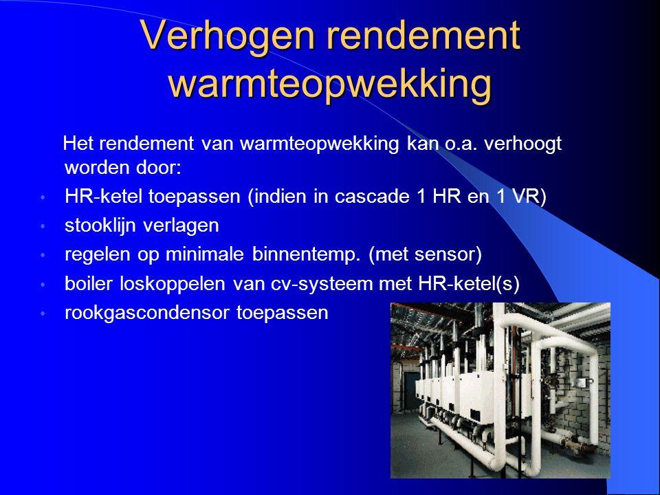 Verhogen rendement warmteopwekking Het rendement van warmteopwekking kan o.a. verhoogt worden door: HR-ketel toepassen (indien in cascade 1 HR en 1 VR
