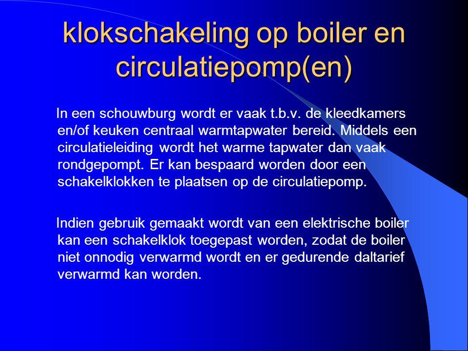 klokschakeling op boiler en circulatiepomp(en) In een schouwburg wordt er vaak t.b.v. de kleedkamers en/of keuken centraal warmtapwater bereid. Middel