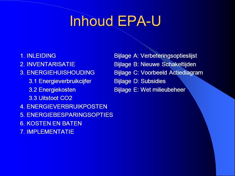 Inhoud EPA-U 1. INLEIDING 2. INVENTARISATIE 3. ENERGIEHUISHOUDING 3.1 Energieverbruikcijfer 3.2 Energiekosten 3.3 Uitstoot CO2 4. ENERGIEVERBRUIKPOSTE