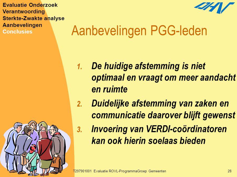 30-01-2003T297901001 Evaluatie ROVL-ProgrammaGroep Gemeenten28 Aanbevelingen PGG-leden 1. De huidige afstemming is niet optimaal en vraagt om meer aan