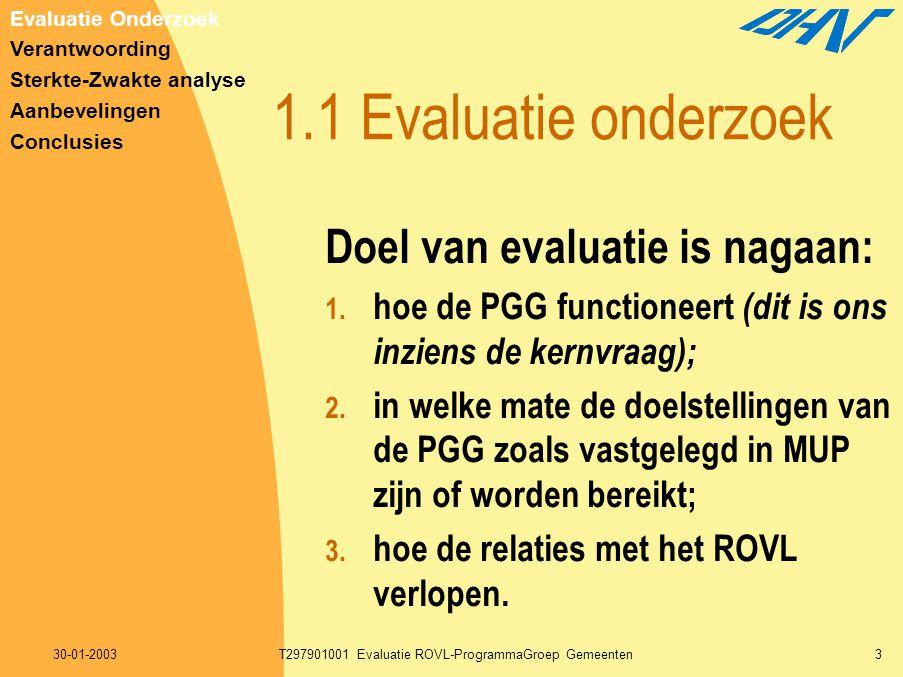 30-01-2003T297901001 Evaluatie ROVL-ProgrammaGroep Gemeenten3 1.1 Evaluatie onderzoek Doel van evaluatie is nagaan: 1. hoe de PGG functioneert (dit is