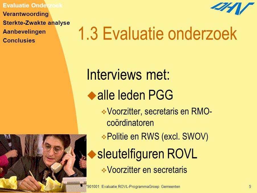 30-01-2003T297901001 Evaluatie ROVL-ProgrammaGroep Gemeenten5 1.3 Evaluatie onderzoek Interviews met:  alle leden PGG  Voorzitter, secretaris en RMO