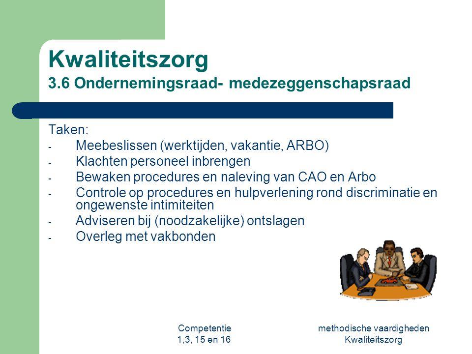 Competentie 1,3, 15 en 16 methodische vaardigheden Kwaliteitszorg Kwaliteitszorg 3.6 Ondernemingsraad- medezeggenschapsraad Taken: - Meebeslissen (wer