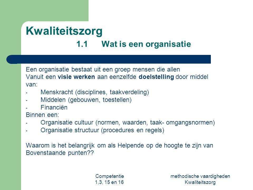 Competentie 1,3, 15 en 16 methodische vaardigheden Kwaliteitszorg Kwaliteitszorg 1.
