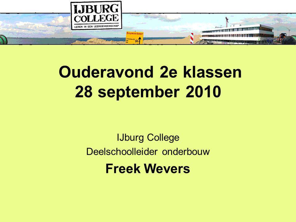 IJburg College Deelschoolleider onderbouw Freek Wevers Ouderavond 2e klassen 28 september 2010