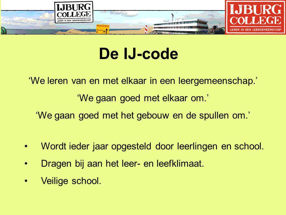 De IJ-code 'We leren van en met elkaar in een leergemeenschap.' 'We gaan goed met elkaar om.' 'We gaan goed met het gebouw en de spullen om.' Wordt ieder jaar opgesteld door leerlingen en school.