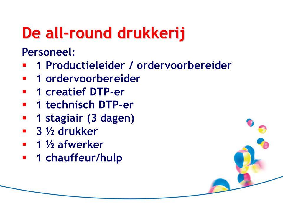 De all-round drukkerij Personeel:  1 Productieleider / ordervoorbereider  1 ordervoorbereider  1 creatief DTP-er  1 technisch DTP-er  1 stagiair (3 dagen)  3 ½ drukker  1 ½ afwerker  1 chauffeur/hulp