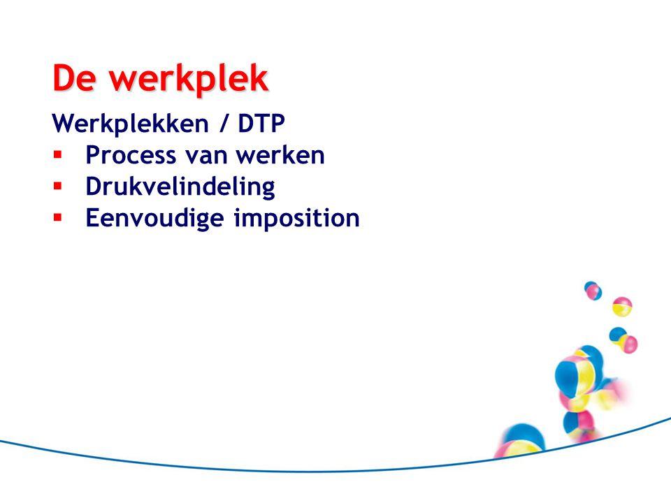 De werkplek Werkplekken / DTP  Process van werken  Drukvelindeling  Eenvoudige imposition