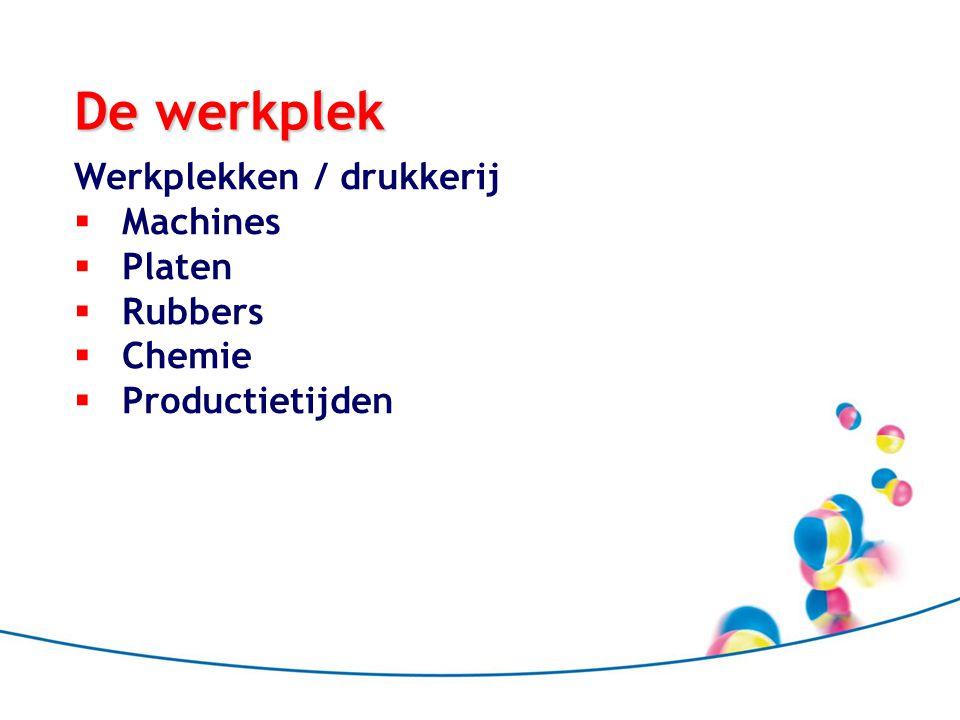 De werkplek Werkplekken / drukkerij  Machines  Platen  Rubbers  Chemie  Productietijden