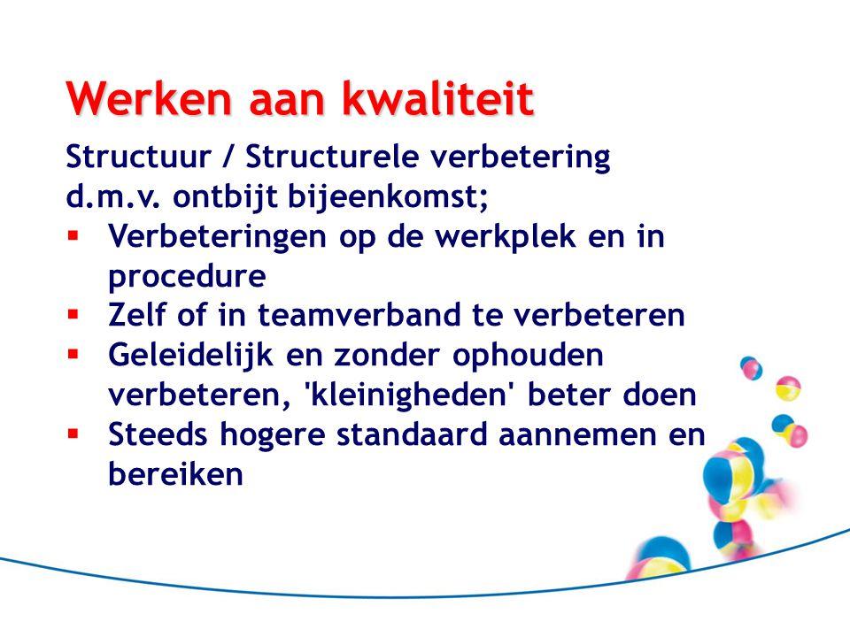 Werken aan kwaliteit Structuur / Structurele verbetering d.m.v. ontbijt bijeenkomst;  Verbeteringen op de werkplek en in procedure  Zelf of in teamv