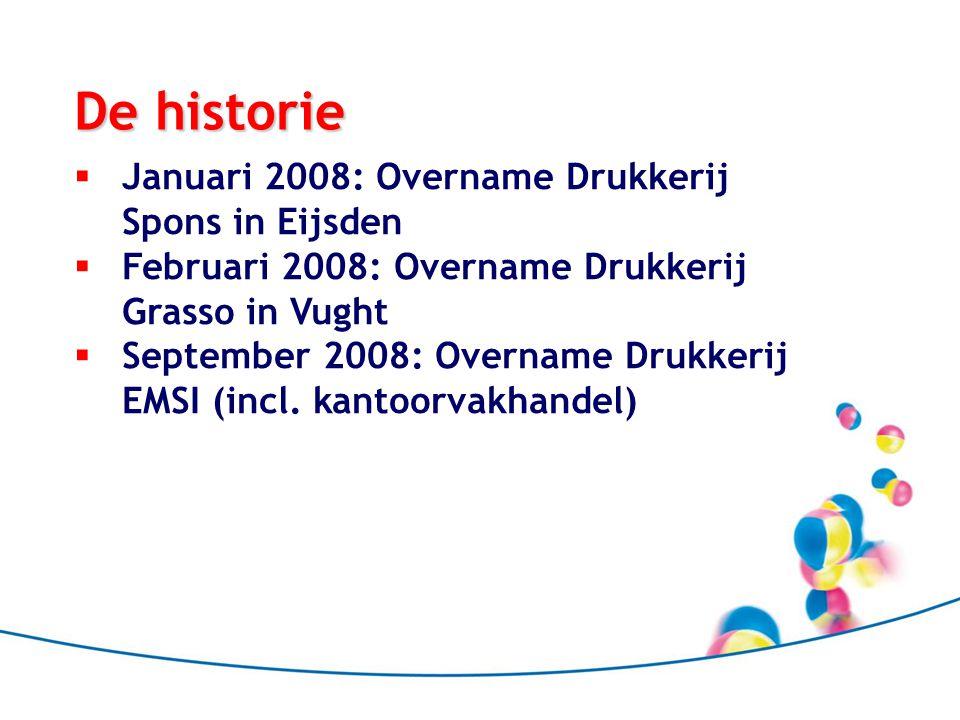De historie  Januari 2008: Overname Drukkerij Spons in Eijsden  Februari 2008: Overname Drukkerij Grasso in Vught  September 2008: Overname Drukkerij EMSI (incl.