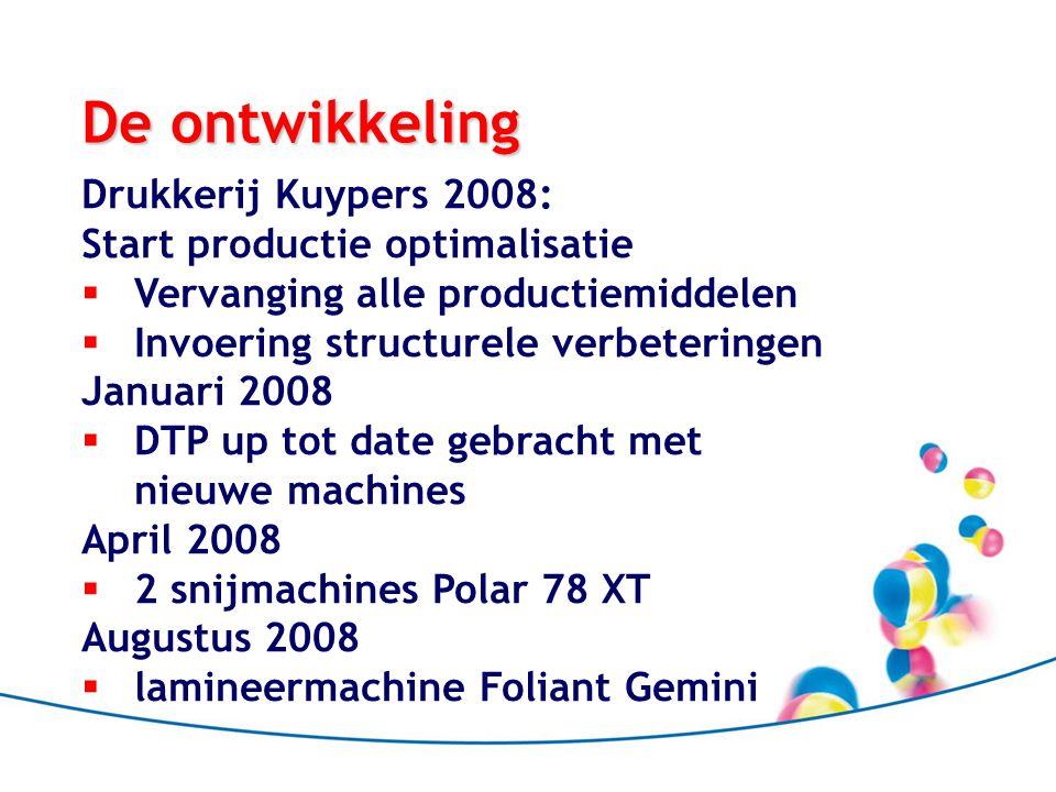De ontwikkeling Oktober 2008  Digitale productie Minolta 6500 November 2008  Brocheermachine Laconda Januari 2009  2 x nieuwe tweekleuren pers Shinohara 52- II Maart 2009  Nieuwe drukpers 4 kleuren + lak: Shinohara 52-IV lak