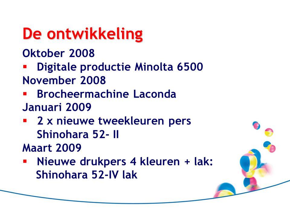 De ontwikkeling Oktober 2008  Digitale productie Minolta 6500 November 2008  Brocheermachine Laconda Januari 2009  2 x nieuwe tweekleuren pers Shin