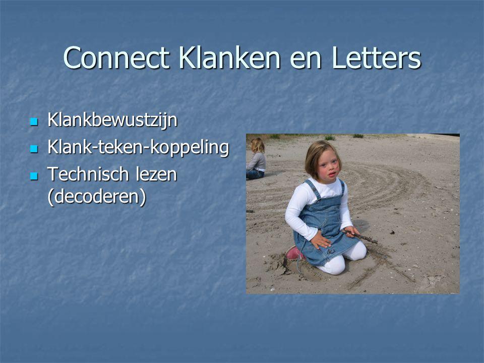 Connect Klanken en Letters Klankbewustzijn Klankbewustzijn Klank-teken-koppeling Klank-teken-koppeling Technisch lezen (decoderen) Technisch lezen (de
